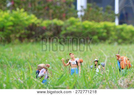 A Group Hiker Backpack Traveler Are Walking
