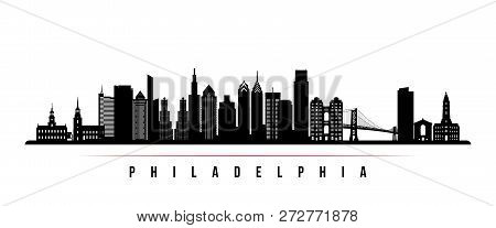 Philadelphia City Skyline Horizontal Banner. Black And White Silhouette Of Philadelphia. Vector Temp