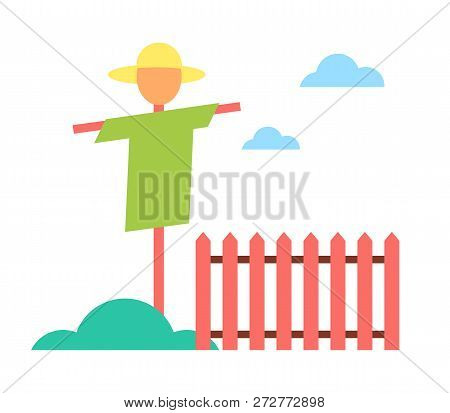 Scarecrow In Garden On Farm Cartoon Vector Icon. Schematic Picture Of Straw Dummy In Hat And Clothes