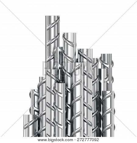 Building Armature Steel Bars Stack On White Background