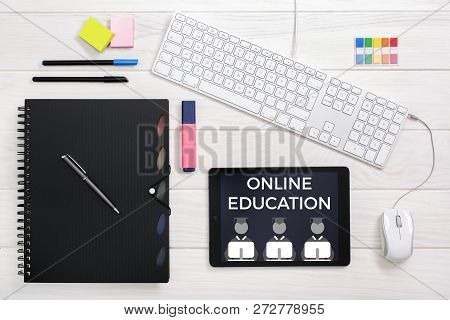 Online Education. Internet For Learning Purposes. Teaching And Learning Online. Flat Lay Top View