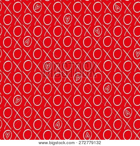Fun Red And White Hand Drawn Hearts And Hugs And Kisses Geometric Vector Pattern On Vibrant Red Back