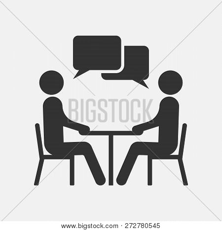 People At A Table Talking, Icon Isolated On White Background. Vector Illustration.