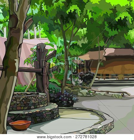 Painted Summer Courtyard With Plants With Buildings And Stone Well