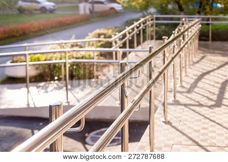 Concret Ramp Way With Stainless Steel Handrail With Disabled Sign For Support Wheelchair Disabled Pe