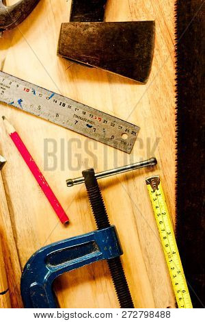 Try Square , Wood Pencil, Hammer, Saw, Clamp, Chisel, Vise, Tape Measure, File  For Carpenter On Woo