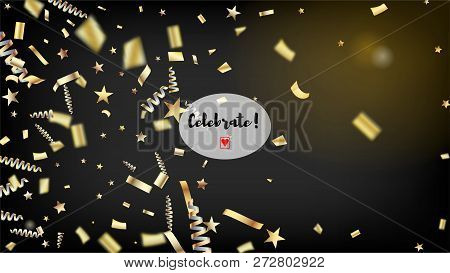 Modern Fireworks Glitter Confetti Card Background. Horizontal Lights Sparkles Background. Cool Spark