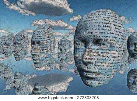 Surreal painting. Faces in the sky. 3D rendering