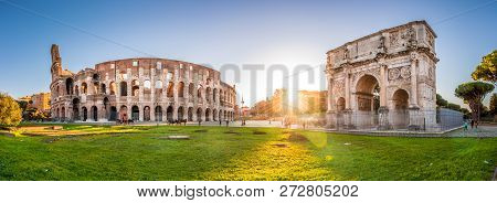 Colosseum And Constantine Arch At Sunset, Rome, Italy