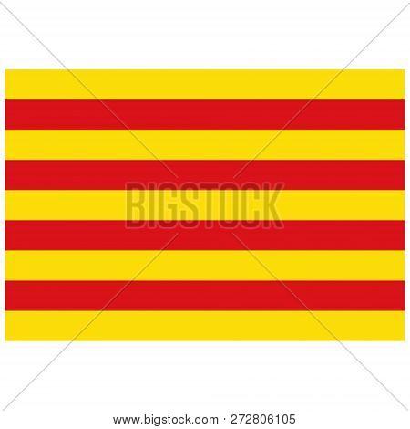 Vector Flag Of Catalonia. Autonomous Community In Spain