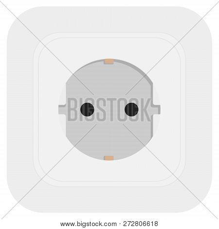White Power Electrical Socket Isolated On White. Vector Illustration