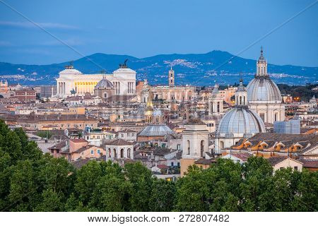 View Of Rome From Castel Santangelo At Blue Hour