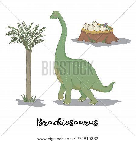 Brachiosaurus With Egg Nest Isolated Over White Vector