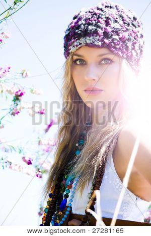 beautiful blond girl outdoors