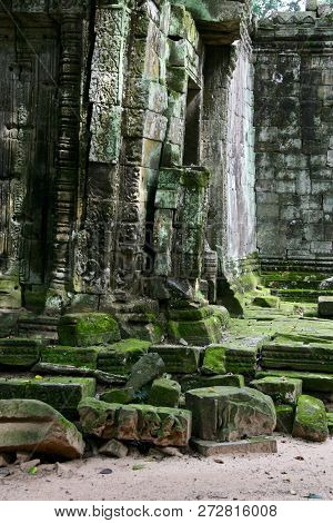 Moss Covered Ruins In The Jungles Of Cambodia