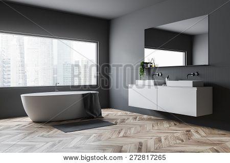 Gray Bathroom Corner, Tub And Sink