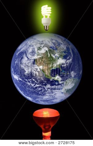 a photo illustration depicting global warming and the earth thinking about a solution poster
