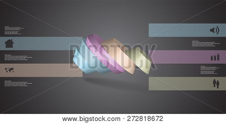 3D Illustration Infographic Template With Round Octagon Divided To Five Parts