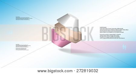 3D Illustration Infographic Template With Round Octagon Divided To Three Parts
