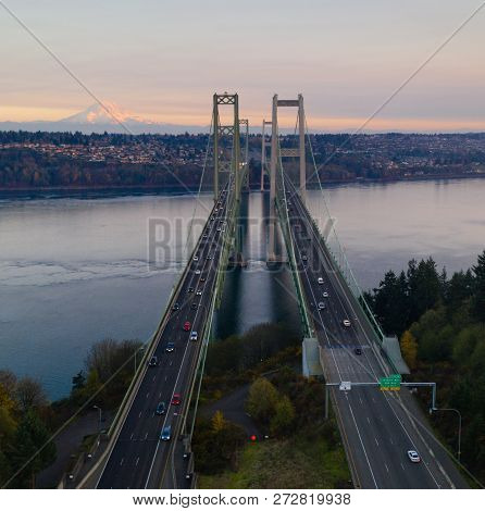 Traffic Makes Way Across The Bridge Over Puget Sound In Washington State Between Tacoma And Gig Harb