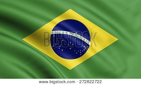 3e3e54c4ca588 Brazil Flag Blowing In The Wind. Background Texture. 3d Rendering