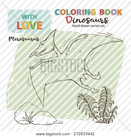 Vector Coloring Book Pterosaur With Plant And Stone.jurassic Wildlife.wild Animals Dinosaurs.