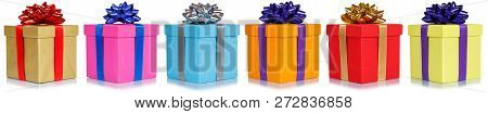 Gifts Presents Christmas Birthday Gift In A Row Isolated On White