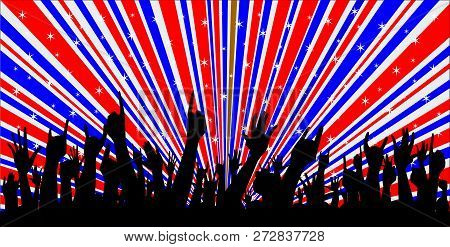 Abstract Hands From Audience Reaction And Retro Grunge Red White And Blue Backround Design Element W