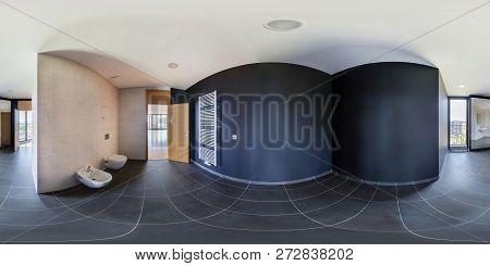 Praha, Czech - July, 2014: 360 Panorama In Empty Restroom Bathroom With Shower Cabin In Loft, Full S