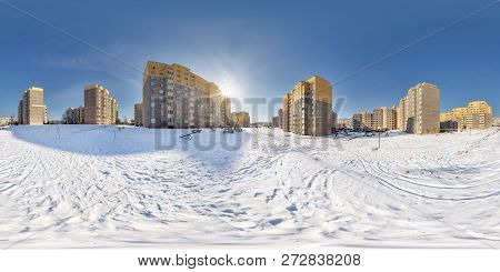 Full  Seamless Spherical Panorama 360 Degrees Angle View In High-rise Building Area Urban Developmen