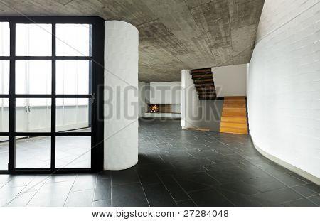 modern empty villa, large window, background room  fireplace