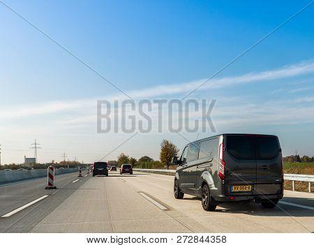 Frankfurt, Germany - Nov 4, 2018: Driver Pov Personal Perspective At The Ford Transit Custom Van Dri