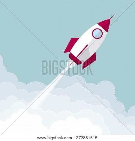 The Rocket Launches In Mid-air.isolated On Blue Background.