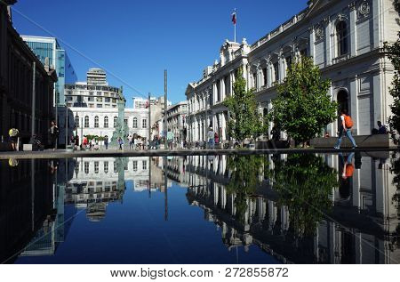 Santiago, Chile - 26 November, 2018: Plaza de la Justicia Montt-Varas square with building of Santiago former National Congress Headquarters in city center of Santiago