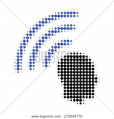 Telepathy Waves Halftone Dotted Icon. Halftone Array Contains Circle Points. Vector Illustration Of