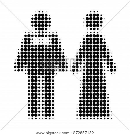 Just Married Persons Halftone Dotted Icon. Halftone Array Contains Circle Elements. Vector Illustrat