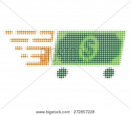 Rolling Dollar Baknote Halftone Dotted Icon With Fast Speed Effect. Vector Illustration Of Rolling D