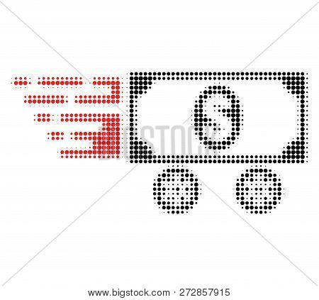 Dollar Car Halftone Dotted Icon With Fast Speed Effect. Vector Illustration Of Dollar Car Designed F