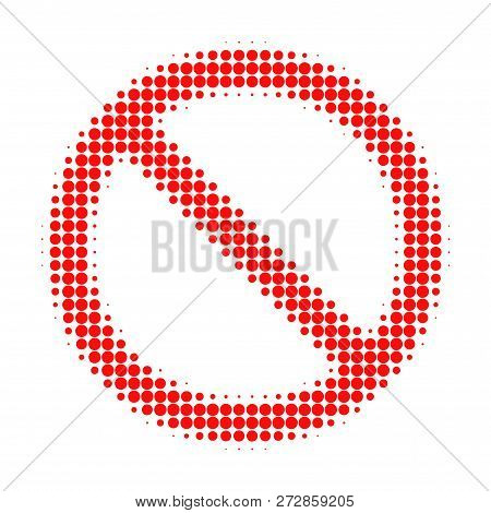 Forbidden Halftone Dotted Icon. Halftone Pattern Contains Circle Elements. Vector Illustration Of Fo