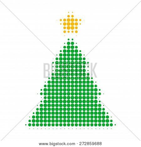Christmas Tree Halftone Dotted Icon. Halftone Pattern Contains Round Pixels. Vector Illustration Of