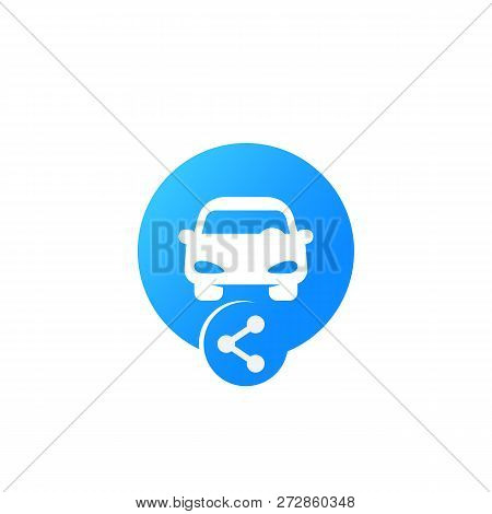 Carsharing Icon For Web And Apps, Vector Logo, Car And Share Sign, Eps 10 File, Easy To Edit