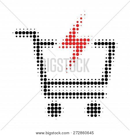 Instant Shopping Halftone Dotted Icon. Halftone Pattern Contains Round Pixels. Vector Illustration O