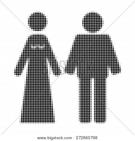 Married Groom And Bribe Halftone Dotted Icon. Halftone Array Contains Round Points. Vector Illustrat