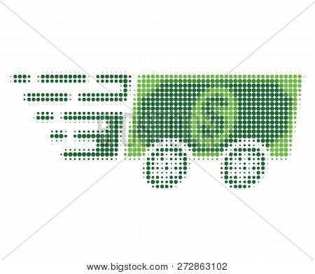 Dollar Banknote Express Halftone Dotted Icon With Fast Speed Effect. Vector Illustration Of Dollar B