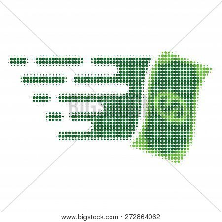 Flying Dollar Banknote Halftone Dotted Icon With Fast Speed Effect. Vector Illustration Of Flying Do