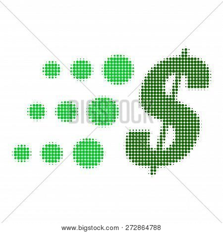 Fast Dollar Halftone Dotted Icon. Halftone Pattern Contains Circle Points. Vector Illustration Of Fa
