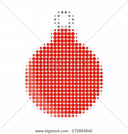 Christmas Ball Halftone Dotted Icon. Halftone Pattern Contains Round Elements. Vector Illustration O