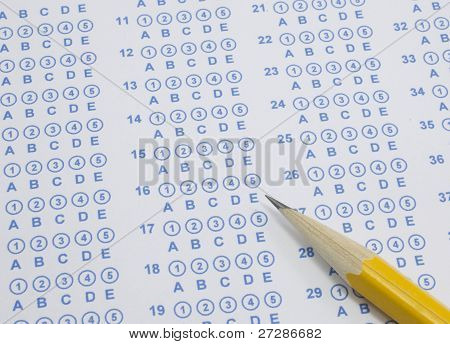 Blue Scantron Test With Pencil