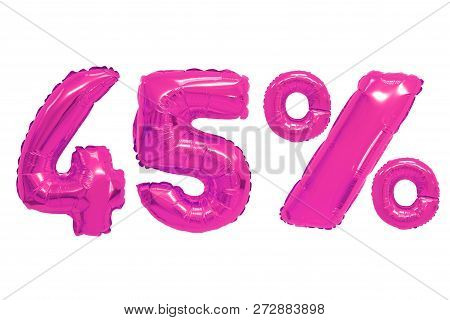 Forty Five Percent From Pink Color Balloons On Isolated Background. Discounts And Sales