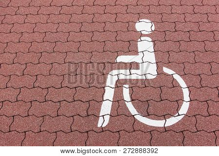 Parking Area Pictogram For Wheel Chair Users.